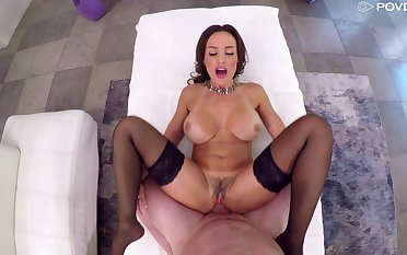Milf suits their way trimmed pussy up a very generous gumshoe