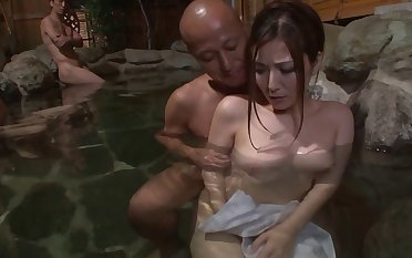 Beautiful Japanese unspecific fucked by studs in the countryside with an increment of spa