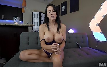 Busty Reagan Foxx uses magical hands when putting on a sexy show
