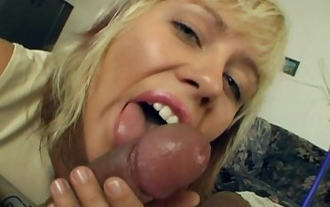 Sexy blonde Sandra teases with a blowjob and flashes their way lineaments