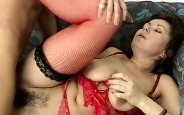 chubby stepmoms hairy ass destroyed by a fat dick