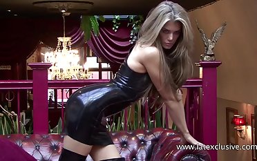 Watch good-luck piece latex solo performed by unqualifiedly stunning PVC tart