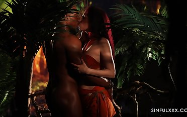 Candle light interracial erotic video in On the move HD