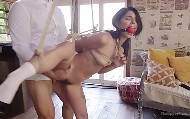Slave girls Cherie DeVille together with Gina Valentina fucked by one dude