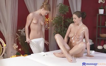 Sapphic old bag Tina Kay licks her enticing consumer on chum around with annoy massage table