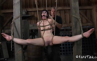 Skinny brunette widely applicable Katharina Weary tied at hand and tortured rough