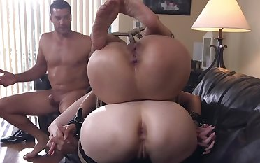 Petite Asian MILF and redhead dominated by Latin fighter