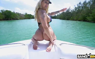 Hardcore fucking on the boat with anal loving MILF Ryan Conner