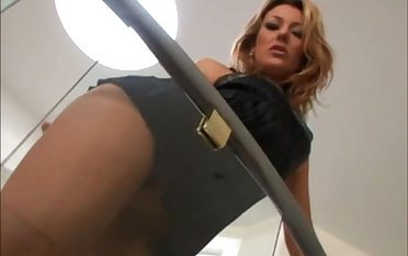 Sweet blonde girl Joey Valentine gets fucked by two horny studs