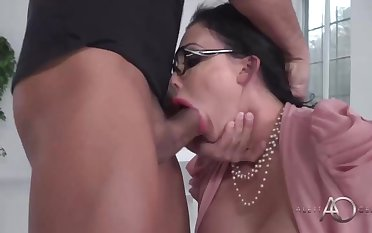 Big-Chested dark-haired cougar is getting beaten instead of conversing about a project with a co- employee