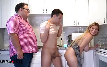 Surprising light-haired COUGAR with phat, paralysed breasts is juggling up and down while having unintentional fuck-fest
