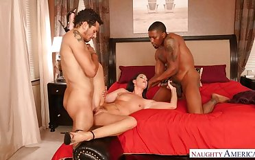 MILF India Summer fucking in a difficulty bedroom with their way brown eyes