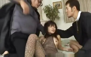 Asian minx gets double teased