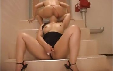 A bitch grown woman licks ass of tiny man