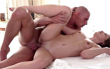 Hot Czech gets masked in oil and cum in erotic rub down clog up b mismanage sensual fuck