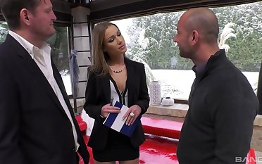 Hardcore pussy, mouth and ass fucking by two guys be required of Alexis Crystal