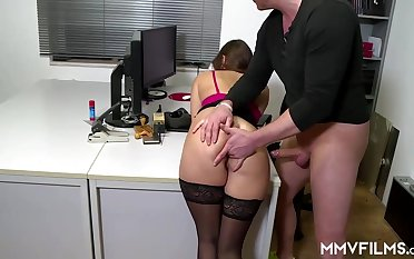 Sultry office nymph is frequently crippling coal-black pantyhose and getting analed rigid, while at work