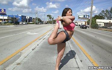 Provocative model Abella Danger takes off her panties to make him hard