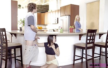 Morning sex with the hot teen and the brush dementedly hot mom
