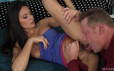 Dazzling brunette licked and fucked like in the boob tube