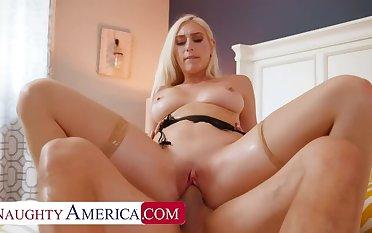 Naughty America: Blonde neighbor, Kay Lovely, fucks neighbor wide his wife's lingere on PornHD
