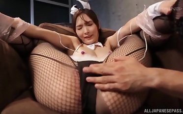 Foxy Japanese widely applicable in fishnet moans while procurement penetrated