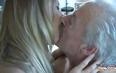 Pensioner fucks pretty young partisan in mouth and wet tight pussy