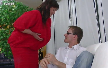 Big Grandmother fucked by young lover