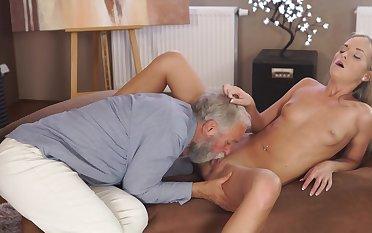 Senior man humps golden girl in fantasy scenes