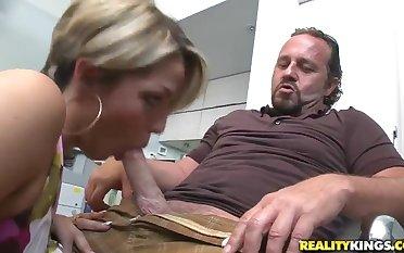Hot secretary is sucking a sweet dick