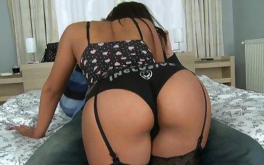 A beautiful brunette in lingerie