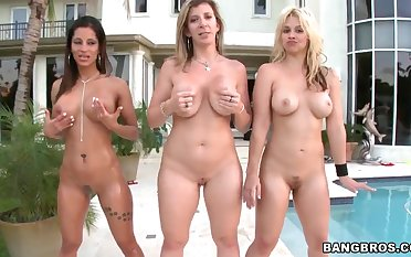 Three adorable whores Sara Jay, Sarah Vandella, Spicy J and one guy
