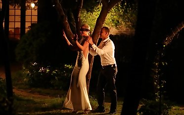Blindfolded blonde wife Vinna gets a surprise sex session outdoors