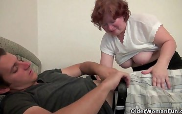 Blow your load on grandma's face and belly