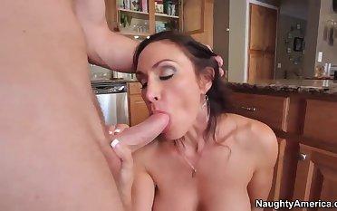 Levi Cash fucks his new girlfriend's mommy Raven LeChance at the kitchen