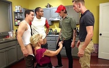 Wet Hot American Stepmom: MILF/COUGAR gangbanged by stepson & friends!