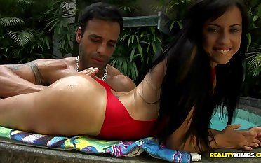 Extremely delicious Brazilian Barbarah has a pool-side fuck