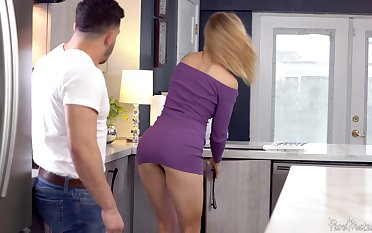 Blonde bombshell Addie Andrews strips before a hard make the beast with two backs