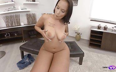 Adorable girl Jennifer Mendez masturbates using her fingers desolate