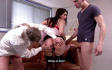 Wild DP threesome with teacher