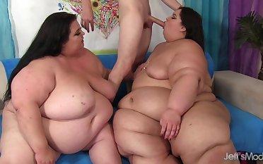 SSBBWs Apple and Lola Share a Emaciated Guy