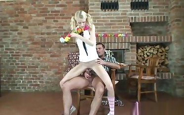 Blonde babe down ponytails getting fucked not at home Young sex