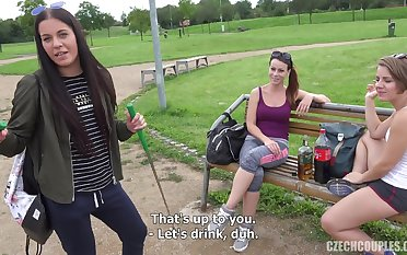 Three Drunk Girls Share Dick In Public - point-of-view