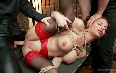 Lusty fixed with ropes cash-drawer Veronica Avluv gets anal fucked hard