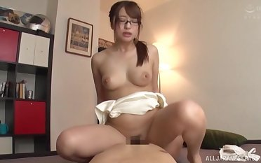 Sweet Asian murkiness ramming a fat friend's penis on the sofa