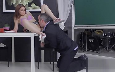 Fervid bookworm gets teased with an increment of pounded by her aged instructo