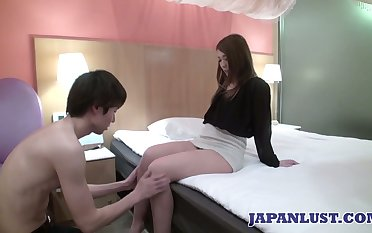 Erotic Japanese woman Ayumi Mukojima gets her pussy fucked and creampied