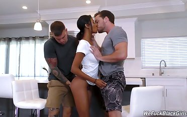 Beautiful ebony babe with racy butt Nia Nacci gets fucked by two white studs