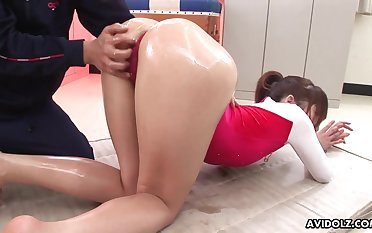 Gymnast gets oiled up coupled with does off colour hither bends