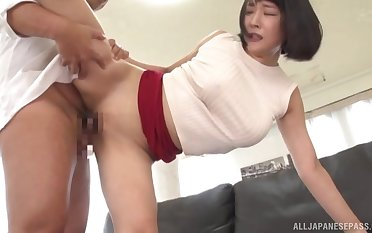 Asian become man with big tits, hard sex on the couch